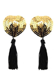 Gold Heart Sequin Burlesque Nipple Pasties