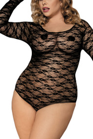Phoebe Black Lace Long Sleeve Teddy Plus Size