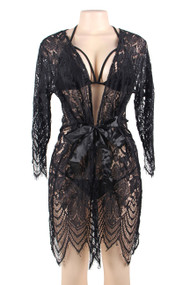 Renee Eyelash Lace Robe Bra Set