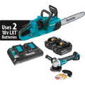 "Makita 18V X2 LXT Lithium‑Ion (36V) Brushless Cordless 14"" Chain Saw Kit (5.0Ah) XCU03PT WITH FREE ANGLE GRINDER"