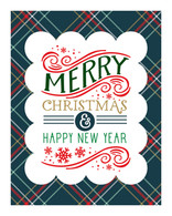 Plaid Merry Christmas Art Print - 8x10