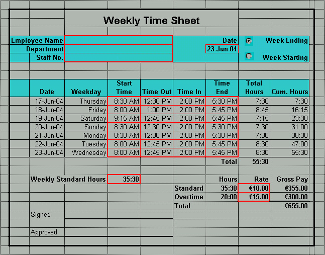 Monthly Timesheet Calculator  Month Timecard Template  Free