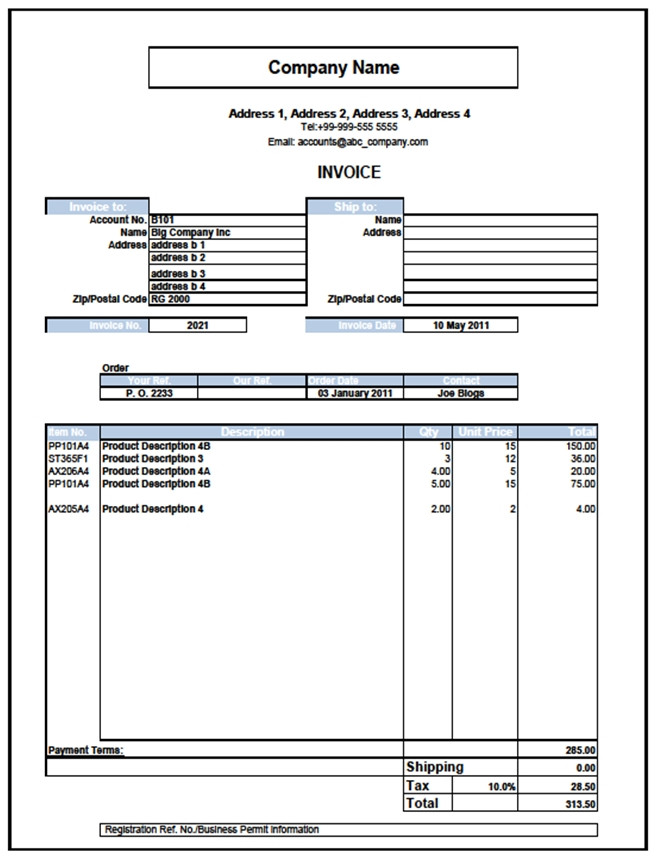 sales invoice template excel .