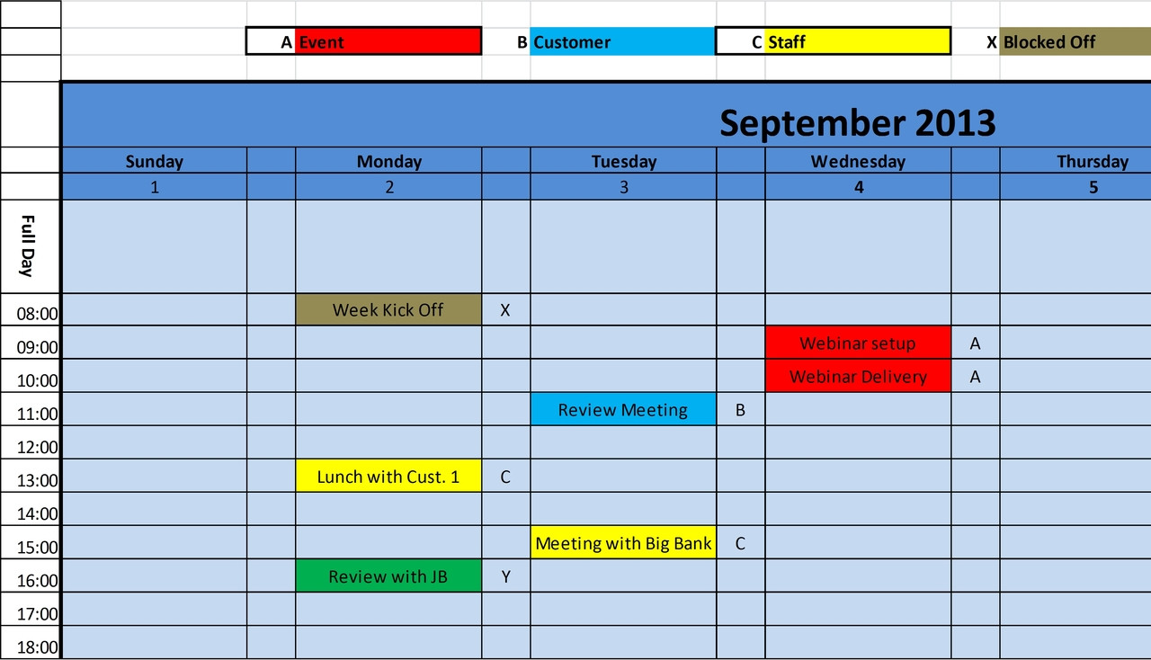 Monthly Calendar In Excel Format : Printable monthly calendar excel template