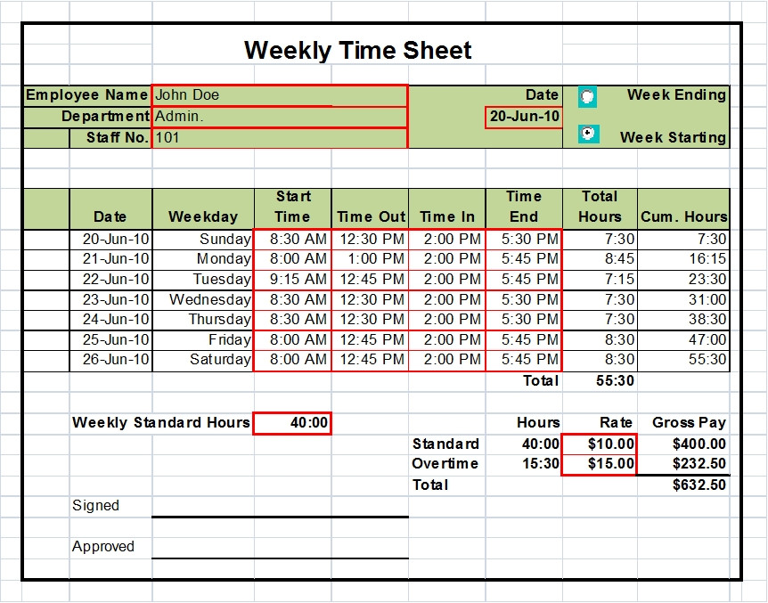 Weekly Time Sheet Excel  CityEsporaCo