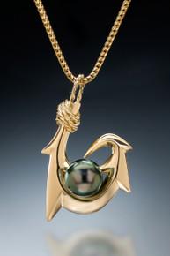 Six Barb (Maui Style) Tahitian Pearl Pendant in 18k gold