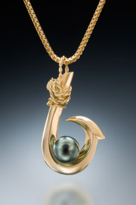 Single Barb (Kauai Style) Tahitian Pearl Pendant in 18k gold
