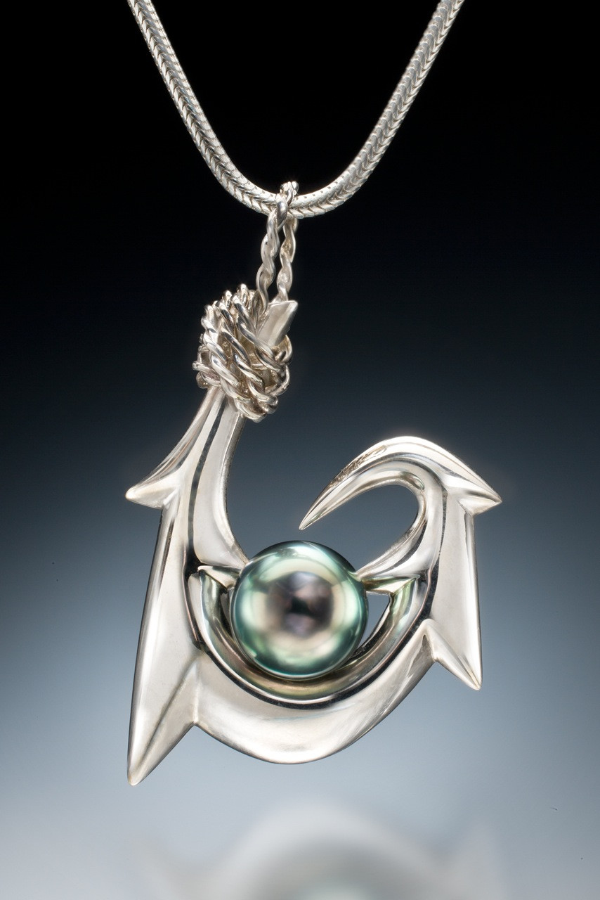 Six Barb Maui Style Tahitian Pearl Pendant In Sterling