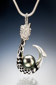 Hawaiian Tattoo Tahitian Pearl Pendant in sterling silver,  with black enamel inlay