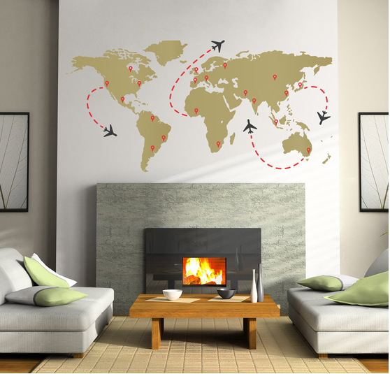 Map World Travel Wall Decal Sticker