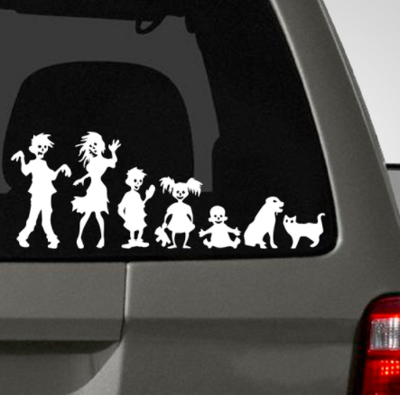 Zombie Family Car Decal Sticker