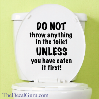 No Flushing toilet sign decal sticker