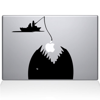 Gone Fishing Macbook Decal Sticker Black