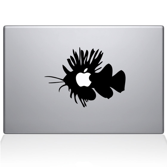 Apple Fish Macbook Decal Sticker Black