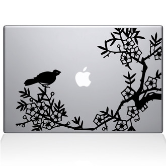 Asian Blooms and Woodland Motifs Macbook Decal Sticker Black
