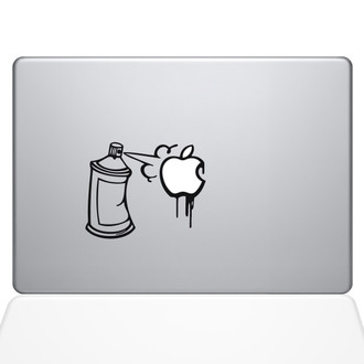 Graffiti Apple Spray Can Macbook Decal Sticker Black