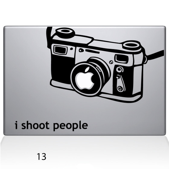 I Shoot People Camera Macbook Decal Sticker Black