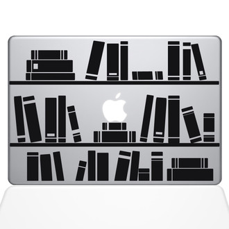 Bookshelf Library Macbook Decal Sticker Black
