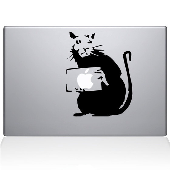 Banksy Rat Macbook Decal Sticker Black