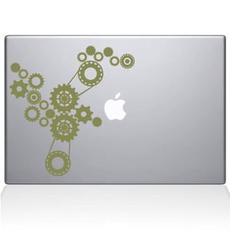 Steampunk Gears Macbook Decal Sticker Gold