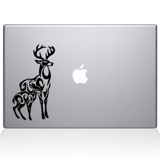 Tribal Stag Macbook Decal Sticker Black