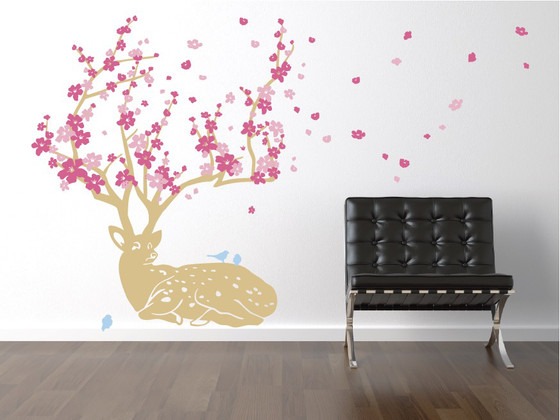 ... Cherry Blossom Deer Wall Decal. Image 1