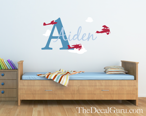 Airplane Monogram Wall Decal
