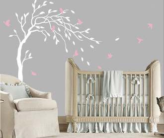 Bird Tree Blowing In The Wind Wall Decal