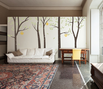 Birch Trees In The Wind Wall Decal