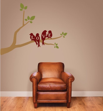 Love Birds on a Branch Wall Decal
