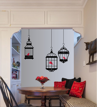 Pretty Bird Cages Wall Decal