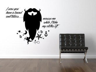 Beard Funny Quote Wall Decal