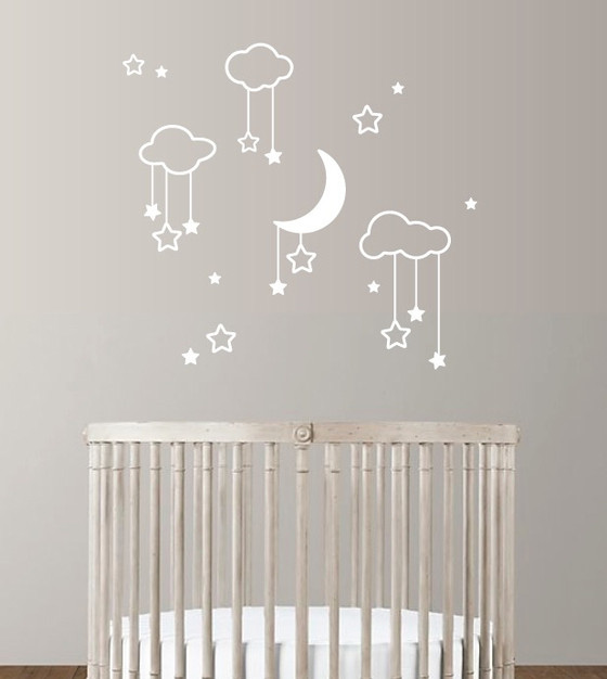 Moon Stars And Clouds Wall Decal
