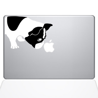 Black and White Bulldog Macbook Decal Sticker Silver