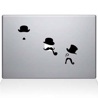 Mustache Disguises Macbook Decal Sticker Black