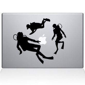 Scuba Divers Macbook Decal Sticker Black