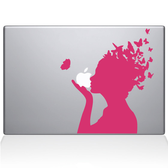 Butterfly Girl Macbook Decal Sticker Pink