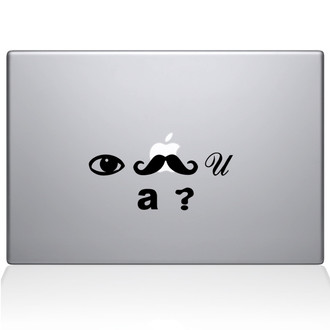 I Mustache you a question Macbook Decal Sticker Black