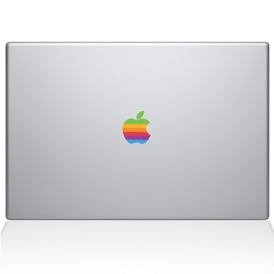 Retro Apple logo Macbook Decal Sticker Silver