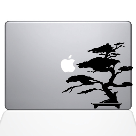 Bonsai Tree Macbook Decal Sticker Black