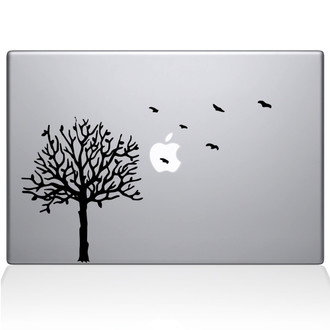 Tree with birds Macbook Decal Sticker Black