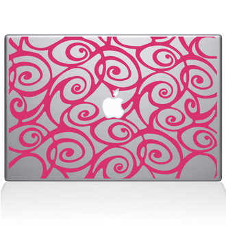 Curly Tangle Swirl pattern Macbook Decal Sticker Pink