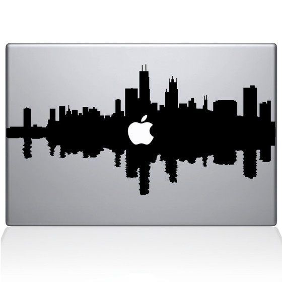 Chicago City Skyline Macbook Decal Sticker Black