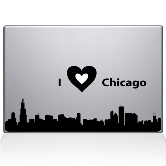 I love Chicago Macbook Decal Sticker Black