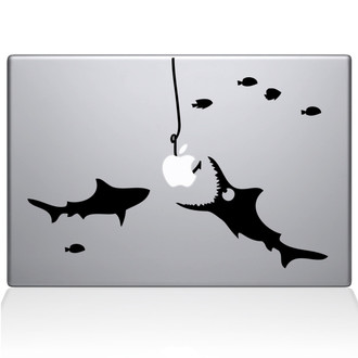 Shark Party Under the Sea Macbook Decal Sticker Black