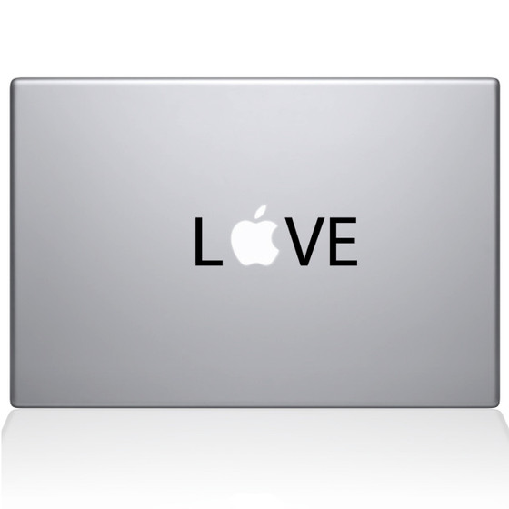 Love Apple Macbook Decal Sticker Black