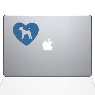 Heart Airedale Terrier Macbook Decal Sticker Light Blue