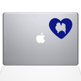 Heart Pomeranian Macbook Decal Sticker Dark Blue