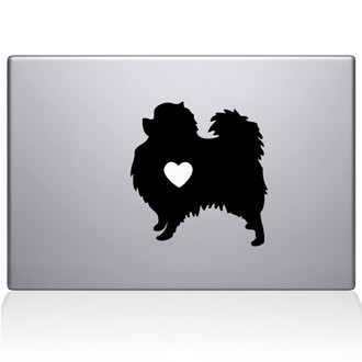 Pomeranian Love Silhouette Macbook Decal Sticker Black