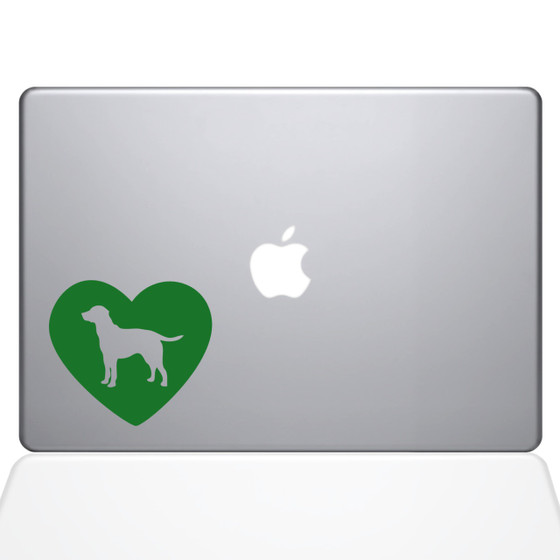 Heart Labrador Retriever Macbook Decal Sticker Green